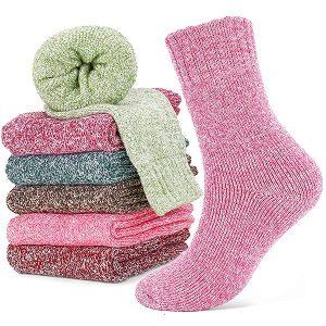 Calcetines de colores rosa verde rojo para mujer lana merino