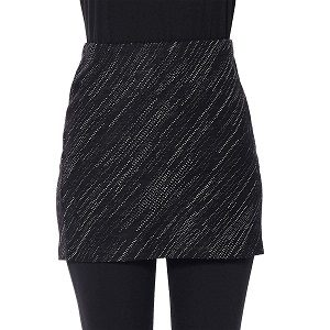Falda corta de lana merino negra a rayas blancas