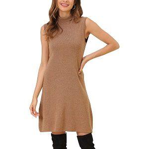 Lana merino vestido corto color marrón caqui
