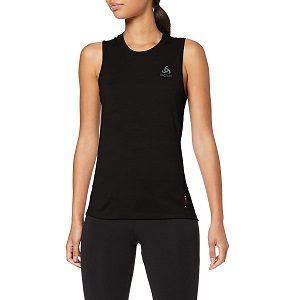 camiseta deportiva negra de mujer de lana merino