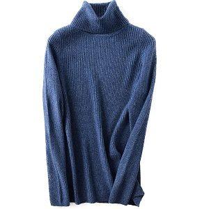 jersey de lana merino cuello alto azul para mujer