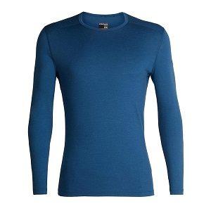Camiseta azul lana merino térmica para hombre