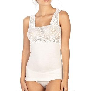 camiseta interior mujer blanca de lana merino
