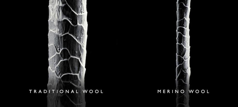 comparación fibra de lana tradicional y de lana merino