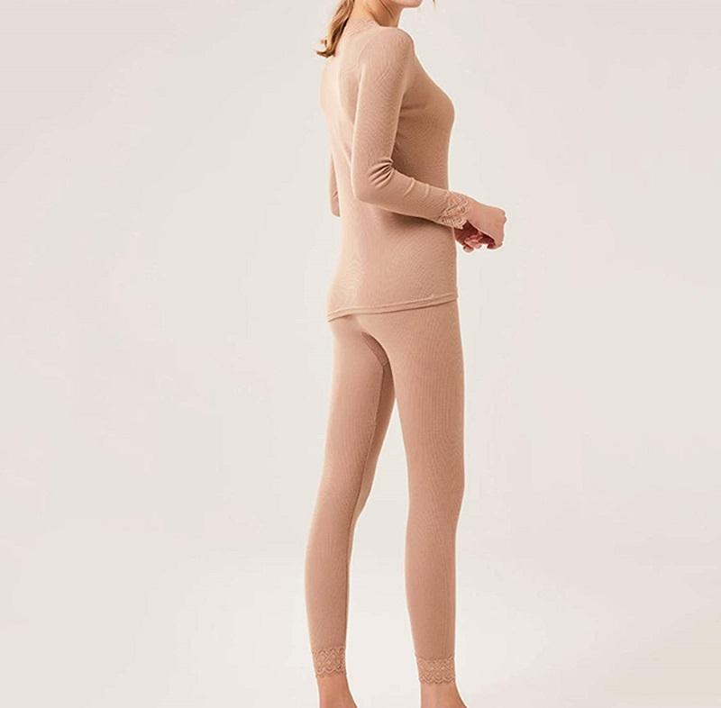 conjunto de ropa interior femenina de lana merino