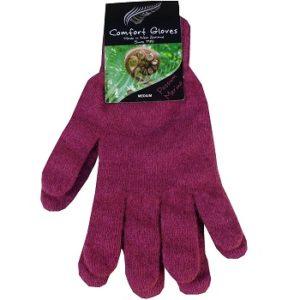guantes magenta de lana merino